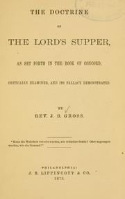 Cover of: The Doctrine of the Lord's Supper | J. B. Gross