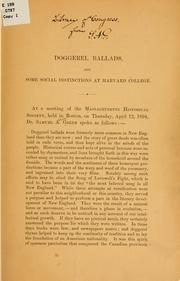 Cover of: Doggerel ballads, and some social distinctions at Harvard college ..