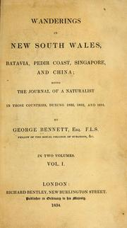 Cover of: Wanderings in New South Wales, Batavia, Pedir Coast, Singapore, and China | George Bennet