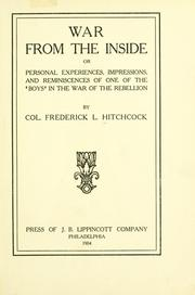 Cover of: War from the inside. | Frederick L[yman] Hitchcock