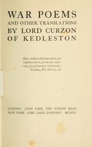 Cover of: War poems and other translations | George Nathaniel Curzon Marquis of Curzon