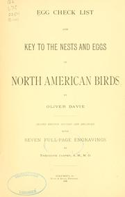 Cover of: Egg check list and key to the nests and eggs of North American birds | Oliver Davie