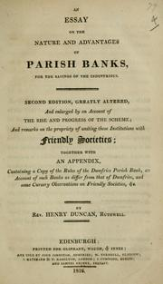 Cover of: An essay on the nature and advantages of parish banks