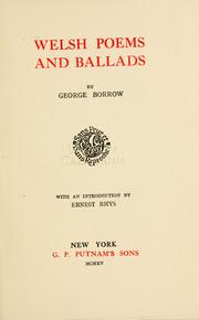 Cover of: Welsh poems and ballads