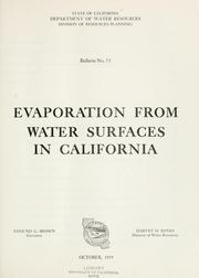 Evaporation from water surfaces in California by California. Dept. of Water Resources.