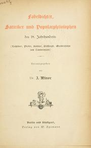 Fabeldichter, Satiriker und Popular-Philosophen des 18. Jahrhunderts by Jacob Minor