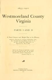 Cover of: Westmoreland County, Virginia | T. R. B. Wright