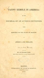 Cover of: Fanny Kemble in America |