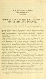 Cover of: Federal aid for the protection of maternity and infancy ..
