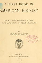 Cover of: A first book in American history by Edward Eggleston