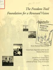 Cover of: freedom trail study for a renewal vision, appendix. | Boston National Historical Park (Boston, Mass.)
