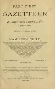 Cover of: Gazetteer of Washington County, Vt., 1783-1889