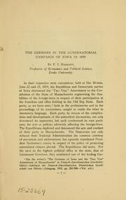 Cover of: Germans in the gubernatorial campaign of Iowa in 1859 | Frank Irving Herriot