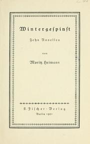 Cover of: Wintergespinst by Heimann, Moritz