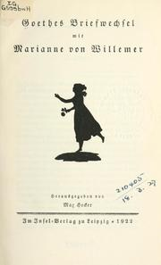 Cover of: Goethes briefwechsel mit Marianne von Willemer by John Leonard Greenberg