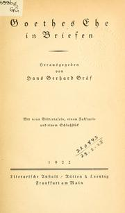 Cover of: Goethes Ehe in Briefen