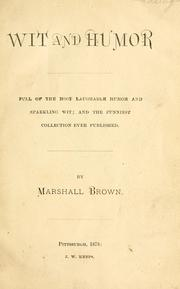 Cover of: Wit and humor | Brown, Marshall
