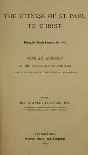 Cover of: witness of St. Paul to Christ | Leathes, Stanley