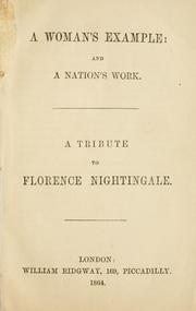 Cover of: A woman's example and a nation's work