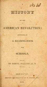 Cover of: A history of the American revolution