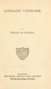 Cover of: The Works Of Thomas De Quincey