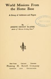 Cover of: World missions from the home base | Joseph Ernest McAfee