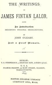 Cover of: The writings of James Fintan Lalor