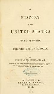 Cover of: history of the United States from 1492 to 1866 | Joseph C. Martindale