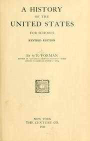 Cover of: A history of the United States for schools by Forman, Samuel Eagle