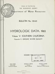 Cover of: Hydrologic data, 1965. | California. Dept. of Water Resources.