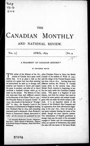 Cover of: A fragment of Canadian history |