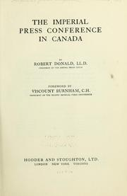 Cover of: Imperial Press Conference in Canada | Donald, Robert Sir