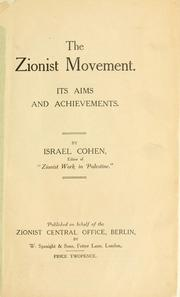 Cover of: The Zionist movement