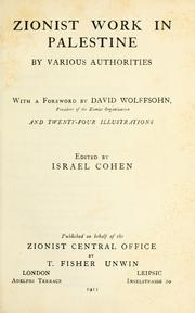 Cover of: Zionist work in Palestine | Cohen, Israel
