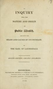 Cover of: An inquiry into the nature and origin of public wealth