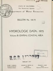 Cover of: Hydrologic data, 1975. | California. Dept. of Water Resources.