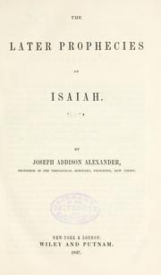 Cover of: later prophecies of Isaiah. |