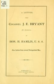 Cover of: letter from Colonel J. E. Bryant ... | John E. Bryant