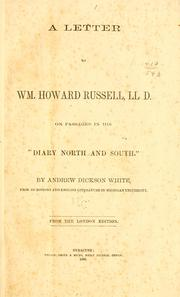 "Cover of: A letter to William Howard Russell, LL.D. on passages in his ""Diary North and South."""