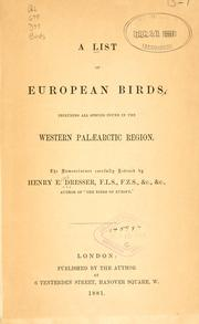 Cover of: A list of European birds