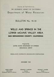 Cover of: Water wells and springs in the Lower Mojave Valley area, San Bernardino County, California | United States Geological Survey