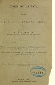 Cover of: Notes on Radiata in the museum of Yale College