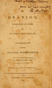 Cover of: An oration, pronounced at Salem, on the fourth day of July, 1804