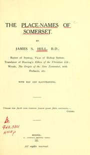 Cover of: place-names of Somerset. | James S. Hill