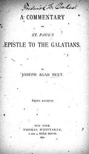 Cover of: A commentary on St. Paul