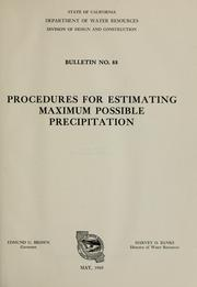 Cover of: Procedures for estimating maximum possible precipitation