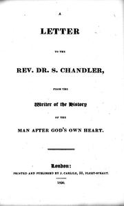 Cover of: A letter to the Rev. Dr. S. Chandler