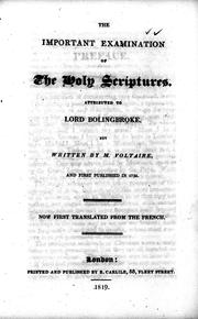 Cover of: The important examination of the Holy Scriptures |