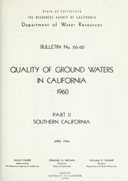 Cover of: Quality of ground waters in California 1960. | California. Dept. of Water Resources.