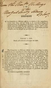 Cover of: Report of the Committee on Military Affairs
